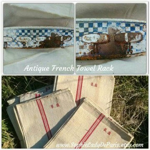 Antique Rusty French Kitchen Towel Rack Dedicated to Hands Knifes Glasses Plates 1930's Hanger French Kitchen Home Decor #sophieladydeparis