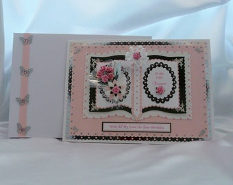 Birthday Card Wife/Girlfriend/Mum/Friend/Sister/Niece/Aunt etc Large Handmade Personalised Boxed