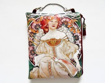 Womens gift ideas, Art Nouveau large waterproof hanging cosmetic bag, book bag, toiletries.