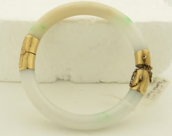 """Vintage 14kt Gold Natural """"A"""" Jadeite, Moss & Snow Colored Translucency w/ Small Patches of Green, Hinge Bracelet."""