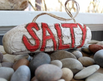 Salty Driftwood Beach Sign , Hand Painted Sea Decor , Nautical Home Decor Sign , Beach House Decoration