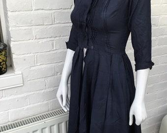 """1950s Vintage Original Navy Shirt Waist Dress sz 34"""" 26"""""""