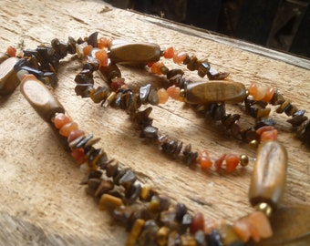 tigers eye and wood set