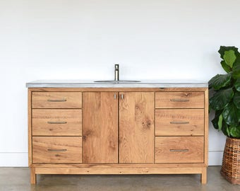 Custom Bathroom Vanity made from Reclaimed Wood | Mid Century Modern Single Sink Console
