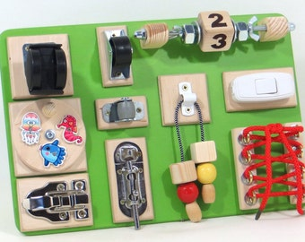 BUSY Sensory Activity board Educational Children Wooden toys Montessori Toddler toy Fine Motor Latch board Children Natural Birthday Gift