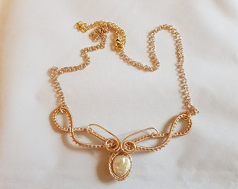 Cultured Pearl Coin  and woven gold wire 21 inch Necklace