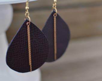 Teardrop earrings in a Deep Purple with rose gold dangles