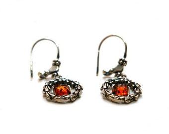 """Amber silver earrings """"Laurel Wreath"""""""