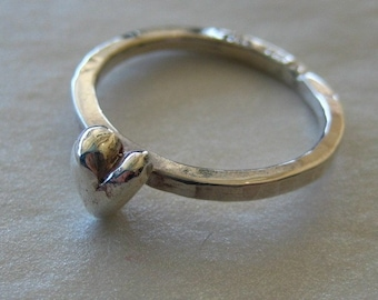 Tiny Stackable Sterling Silver Heart Ring
