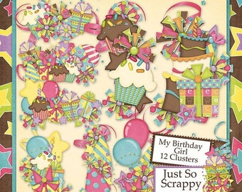 On Sale 50% My Birthday Girl Clusters for Digital Scrapbooking Kit