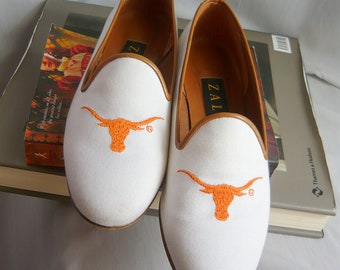 Vintage ZALO Longhorn Loafer Shoes / size 7  B Eu 37 .5 UK 4 .5 / White Canvas Leather Orange / College Univ Texas / Handmade in Spain