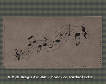Engraved Leatherette Checkbook Cover - Music Designs