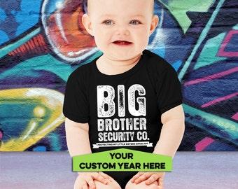 Big Brother Baby BodySuit - Big Brother Security Shirt - Big Brother Sibling T-shirt - Big Brother Little Sister - CUSTOM YEAR - AR-75