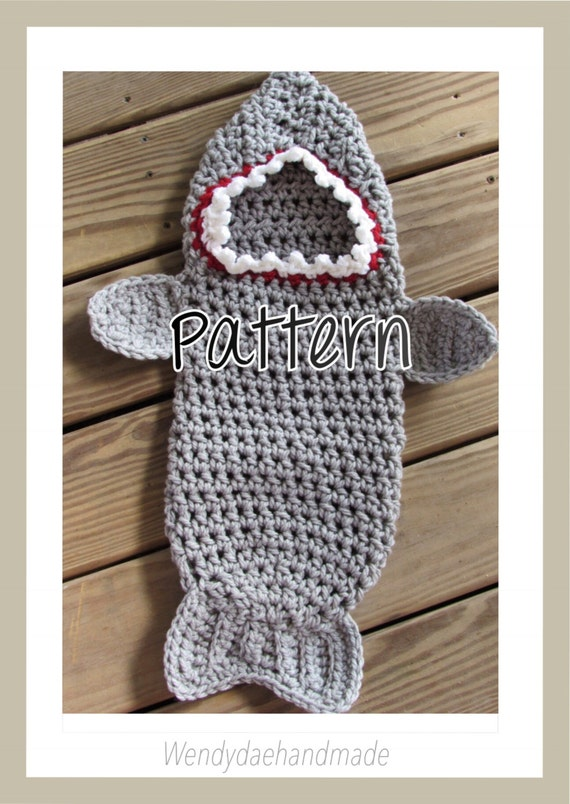 Crochet Pattern Newborn Shark Swaddle Cocoon Photo Prop