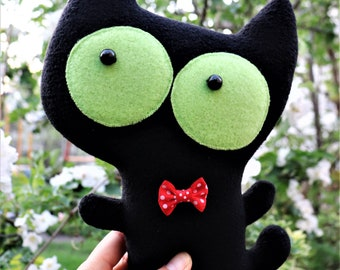 Black cat toy Decoration animal textile doll Home decor Gift for girlfriend Catnip pillow Heart toy cat