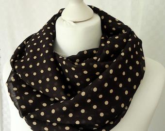 Polka dot infinity scarf, Brown beige polka dot scarf, Scarf for her, Lightweight scarf, Fashion scarf, Statement scarf