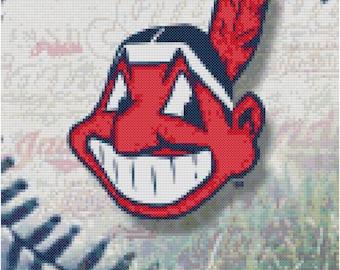 MLB Cleveland Indians Baseball Counted Cross Stitch Pattern