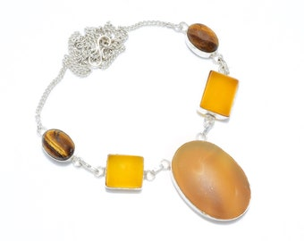 Yellow Sapphire, Tiger Eye 925 Silver Necklace