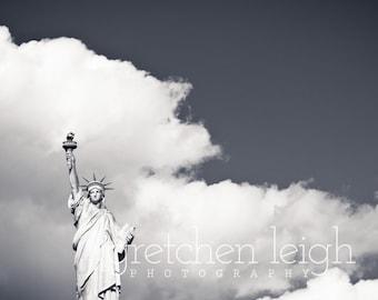 Statue of Liberty New York City Metallic Black & White metallic, canvas or metal print - NYC, Lady Liberty, travel, decor, fine art, picture