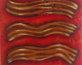 "Bacon Painting on Weathered Plywood, ""Triple Treat"""
