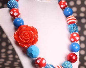 red and turquoise Rose Bubble Gum Beaded Necklace, Spring Chunky Necklace, Easter Necklace, Chunky Bead Necklace, Girls Necklace