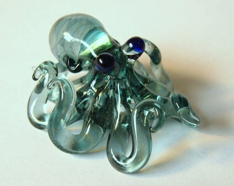 Small Glass Octopus pendant Transparent Light Blue