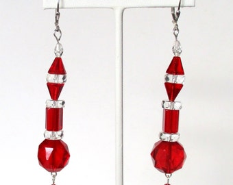 Pair of Art-Deco 3 1/2- Inch  Sterling Silver Earrings With  Red & Clear Crystal  Beads