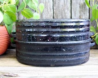 Vintage Lisk Blue Speckled Enamel Roasting Pan