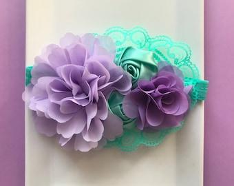 Purple and aqua headbands for girls
