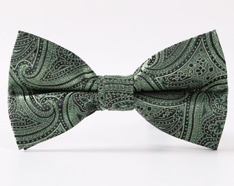 Olive Green Paisley Bowtie. Mens Silk Bowtie.