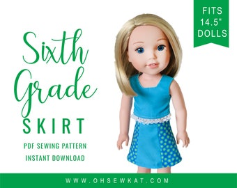 Oh Sew Kat! Doll Clothes Skirt Sewing Pattern PDF fits 14.5 inch dolls like WellieWishers™ :  Sixth Grade Skirt, easy to sew doll clothes