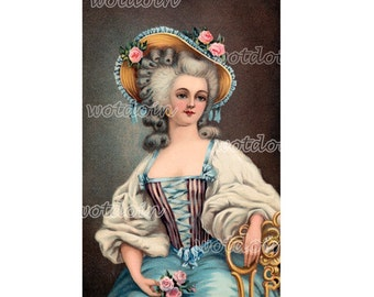 Royal Blue French Fashion Aristocrat Woman Marie Antoinette Printable Digital Image Transfer Instant Download
