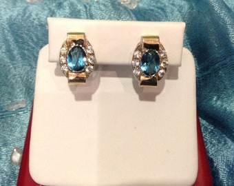 Sterling Silver 925 and Solid Gold Earring, with Blue Topaz Stone, Hand Made from Israel. oval Shape.