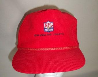 Vintage 80s 90s NFL Alumni New England Patriots Strapback Corduroy Hat