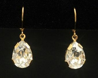 Gold Wedding Earrings, Rhinestone Earrings, Bridal Earrings, Rhinestone Teardrop Earrings, Drops, Dangles, Wedding Jewelry -- SPARKLE