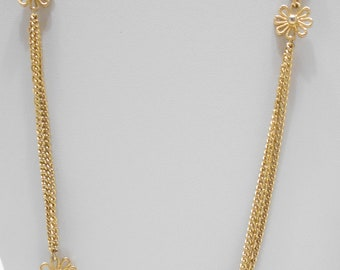 """Vintage Gold Tone Triple Strand 54"""" Chain Necklace (2531) Gold Tone Daisies"""