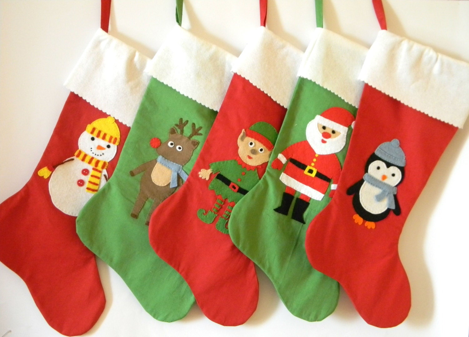 Christmas stocking embroidered name personalized green red for Felt stocking decorations