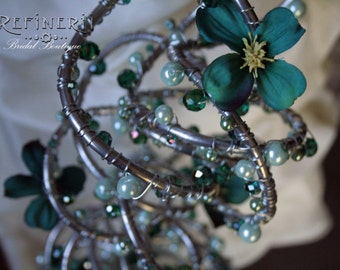 Trailing Metal Bouquet with Sea Green Silk Flowers, Crystals and Pearls