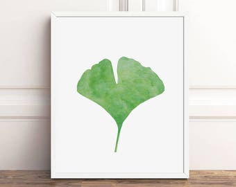 Watercolor Nature Art, Ginkgo Leaf Print, PRINTABLE Wall Decor, Botanical Print, Green Leaves, 5x7, 8x10, 16x20 Instant Download