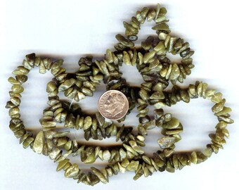 Earthy Natural Green Serpentine Gemstone Chip Beads Full 36""