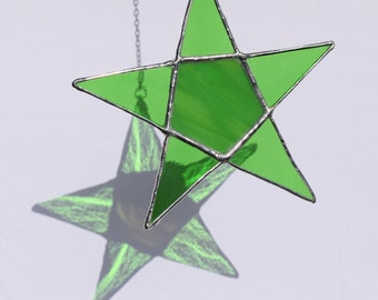 Green Five Point Star Suncatcher