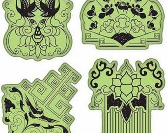 Inkadinkado Far East Inspired Images Set Lotus Crane Flower Cling Rubber Stamp