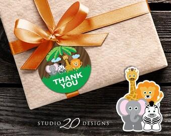 Instant Download Safari Thank You Tags, Printable Jungle Birthday Gift Tags, Safari Baby Shower Thank You Tags, Safari Favor Tags 57A