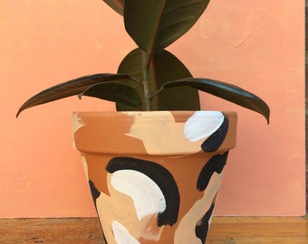 Indoor Small Planter Plant Pot Painted Terracotta Clay Pot 'These Boots are Made for Walking' Small 12cm