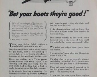 Buick War Goods Buick Built Pratt & Whitney Aircraft Engines 1944 Vintage Magazine Advert