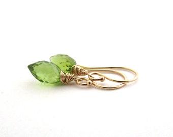 14K gold peridot earrings, green gemstone jewelry. August birthstone peridot jewelry, 14K solid gold earings, delicate 14k gold earrings