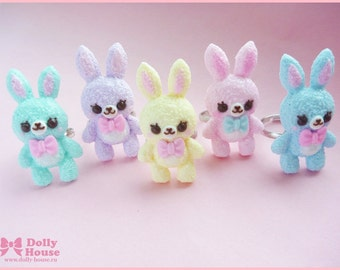 Kawaii Pastel Bunny Ring by Dolly House