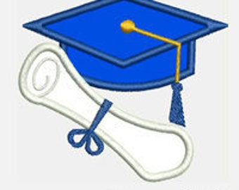 Cap and Diploma Graduate...Embroidery Applique Design...Three sizes for multiple hoops...Item1505...INSTANT DOWNLOAD