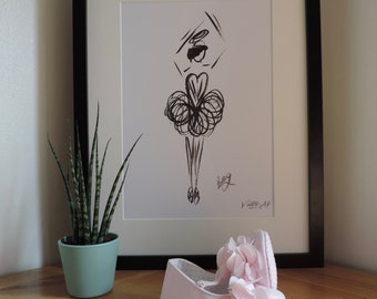 Beautiful print of hand drawn Ballerina originally drawn in Japanese ink, various sizes available