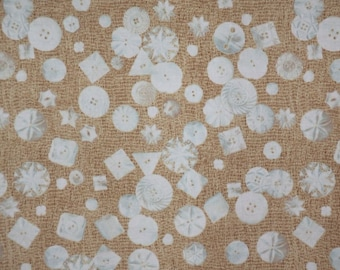 SPECIAL--Mother of Pearl Buttons Print Pure Cotton Fabric from Windham--One Yard